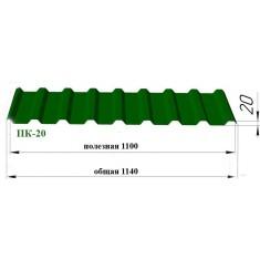 Профнастил 20 мм; Толщина: 0,5 м..